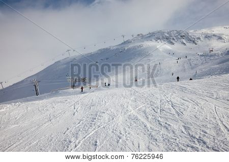 Ski slope in cold weather