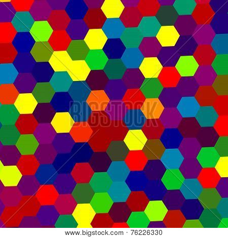 Colorful abstract background with geometric shapes. Hexagon shaped dots pattern. Design Graphic.