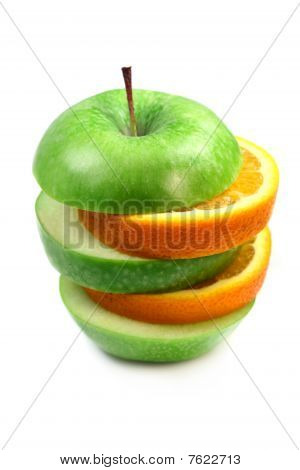Fruit  Orange And Apple In Pyramid