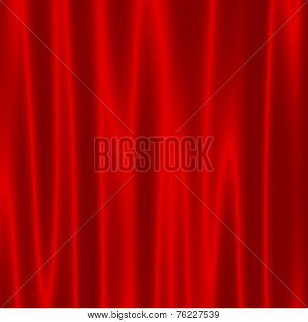 Theatre Stage With Red Velvet Curtains - Artistic Abstract Wave Effect - Background For Design Artwo
