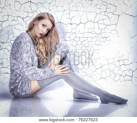 Beautiful Blonde Woman Wearing Stockings