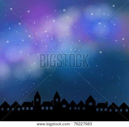 Silent Night With Beautiful Stardust Sky, Create By Vector