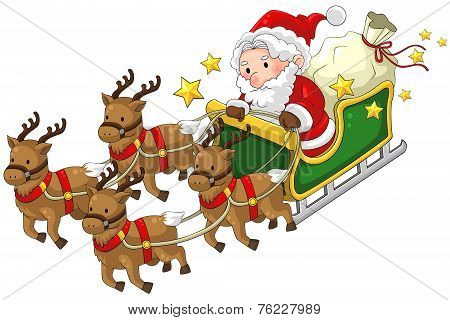 Santa Claus On A Reindeer Sleigh In Christmas In White Isolated Background