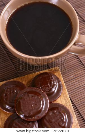 Sweet cookies with coffee