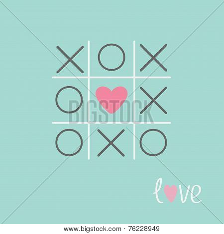 Tic Tac Toe Game With Cross And Heart Sign Mark Love Card Blue Flat Design
