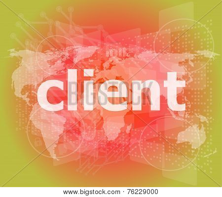 Seo Web Design Concept: Client On Business Digital Background