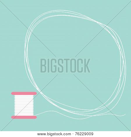 Spool Of Thread Round Frame Flat Desigh Love Card