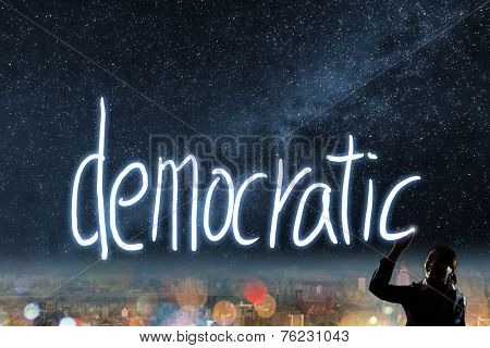 Concept of vote, election, democracy,  silhouette of asian business woman light drawing.