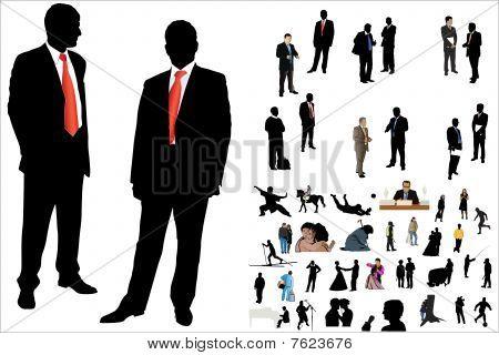 illustration of 50 people silhouette