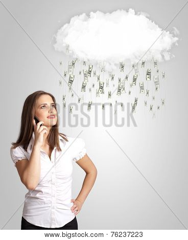 Woman with white cloud and money rain concept