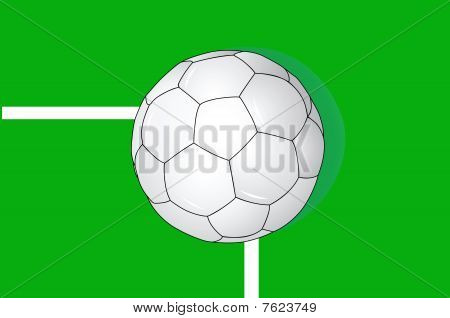 Vector illustration of ball on a goalmouth line