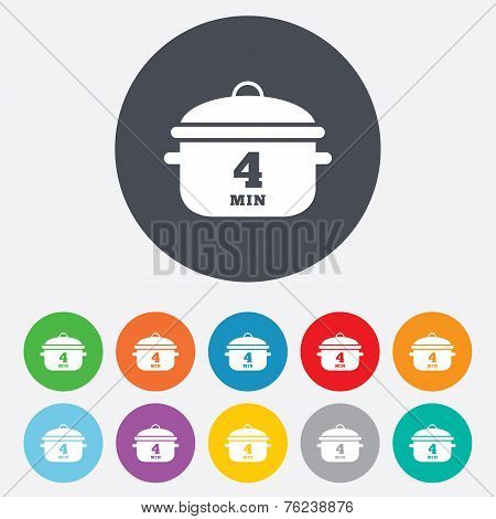 Boil 4 minutes. Cooking pan sign icon. Stew food