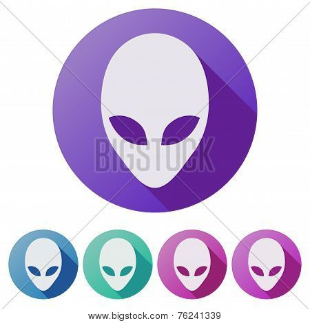 Set Flat icons of Alien head creature from another world. Vector.