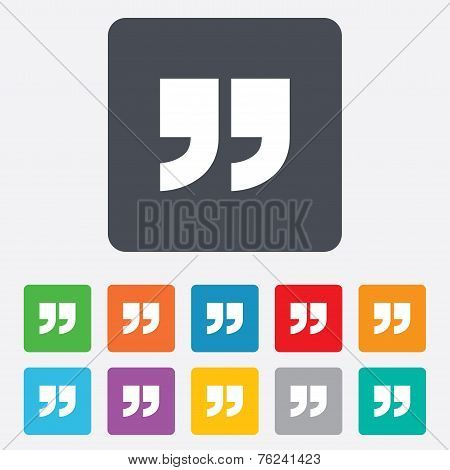 Quote sign icon. Quotation mark symbol.