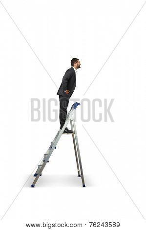 smiley businessman standing on the stepladder and looking at camera. isolated on white background