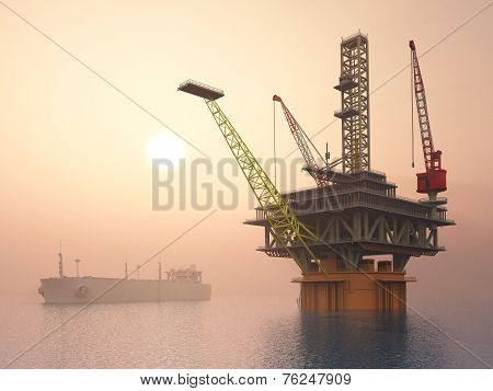 Oil Platform and Supertanker