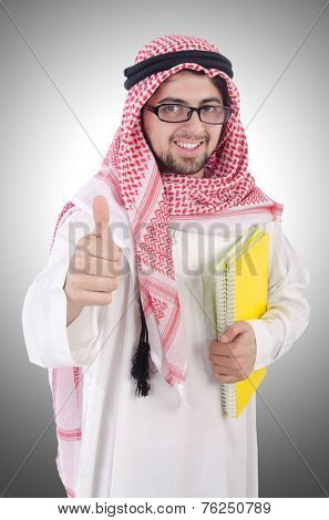 Youn arab student isolated on white