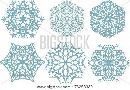 Set Of Snowflakes, White Background. Vector Illustration.