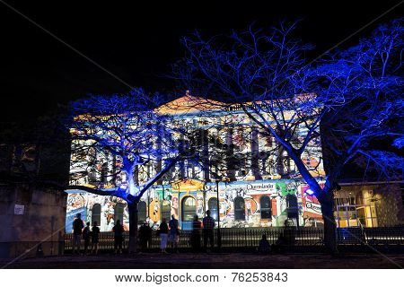 Commissariat Store lit up for the G20 Cultural Celebrations