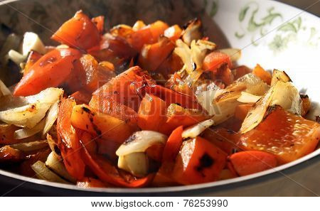 Red Peppers And Onions