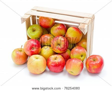 Ripe Apples In Wooden Crate