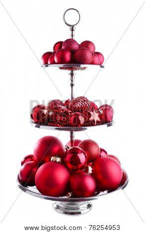 Beautiful Christmas balls on silver serving tray isolated on white