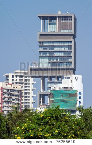 MUMBAI, INDIA - DECEMBER 12, 2012: World's second most expensive residential property, also known as Antilia, on December 12, 2012 in South Mumbai, India.