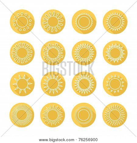Set of sun web icons,symbol,sign in flat style. Suns collection. Elements for design. Vector illustr