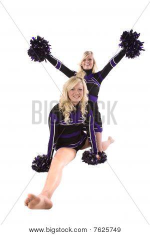 Two Cheerleaders One Doing Splits