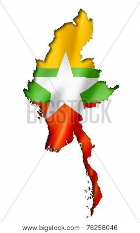 Burma Myanmar Flag Map