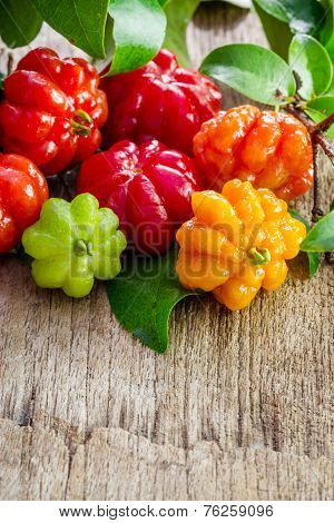Tropical Fruit Also Called Pitanga, Brazilian Cherry, Suriname Cherry, Cayenne Cherry