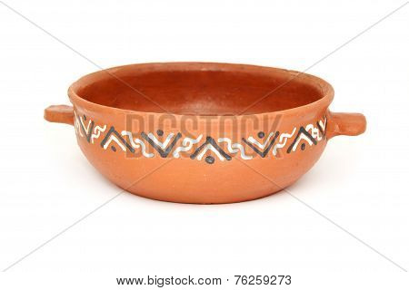 Bowl Of Clay For Roasting Vegetables, Isolated On A White Background.