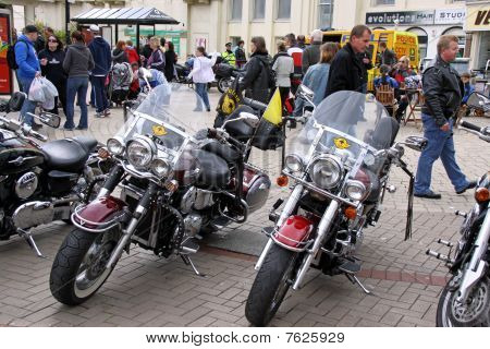 Motorbikes at a Biker meet-up