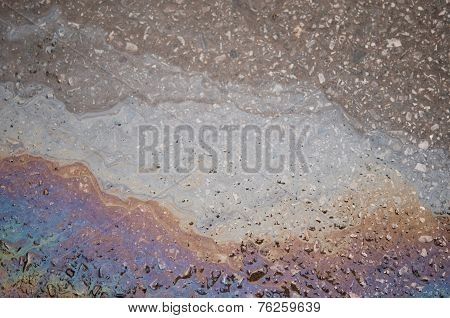 oil and water on street