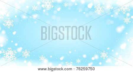 Light blue winter background with snow borders