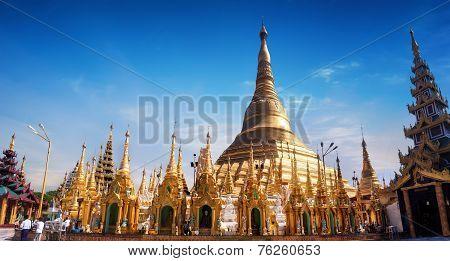 Sacred Buddhist Place Shwedagon Pagoda. Yangon, Myanmar (burma)