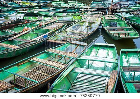 Vietnamese Boats At River. Ninh Binh,. Vietnam