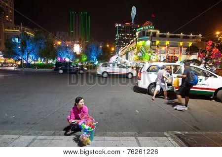 Vendor Selling Souvenirs. Ho Chi Minh City (saigon), Vietnam