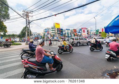 Road Traffic At Ho Chi Minh City (saigon). Vietnam