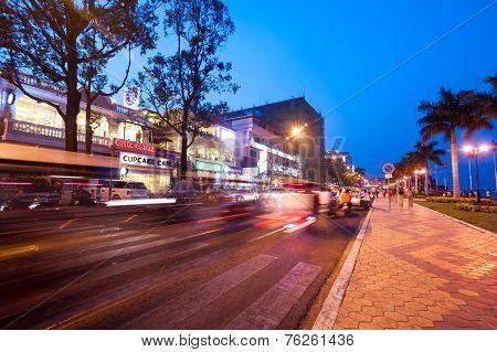 Scene Of Night Life In Capital City Phnom Penh, Cambodia