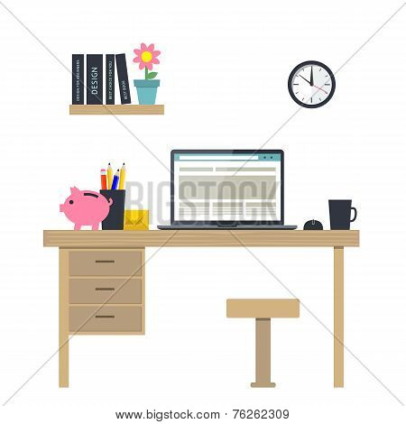 Vector illustration of workplace