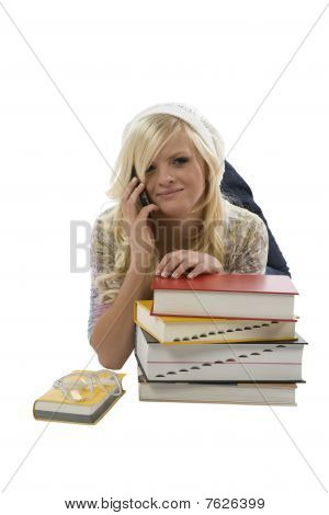 Girl Behind Books On Phone