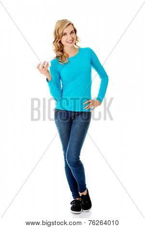 Full length woman with empty business card.