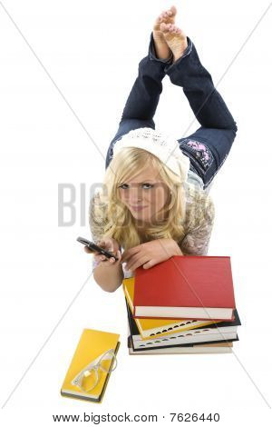 Girl Laying Behind Books Texting.