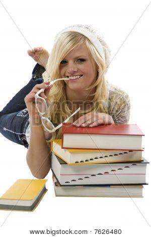 Girl Posing Behind Books
