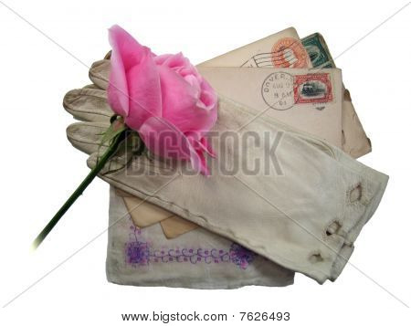 old letters and rose