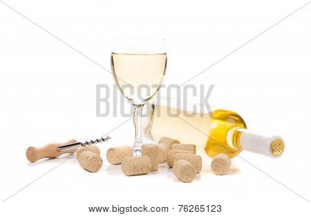 Glass of wine and bottle