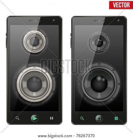 Set of Sound Load speakers Dynamics inside a smartphone