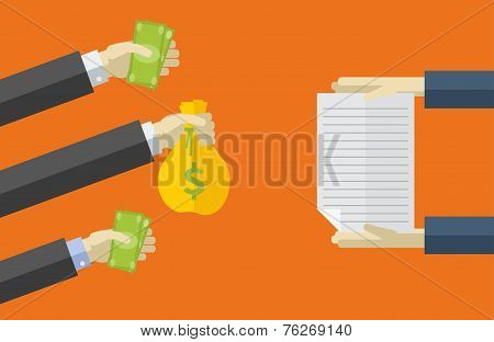 Vector icons in flat style. purchase of securities. payment methods.