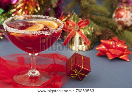 Cold Drink With Cranberries, Orange Juice And Ice For The New Year.